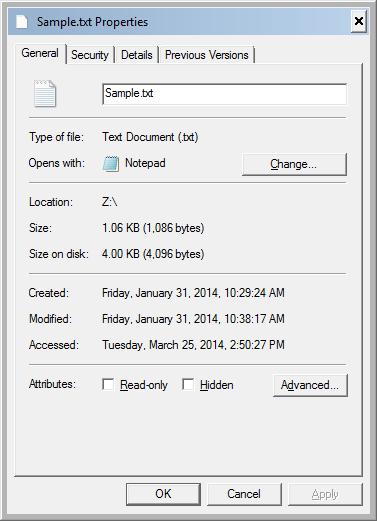 Original File Properties