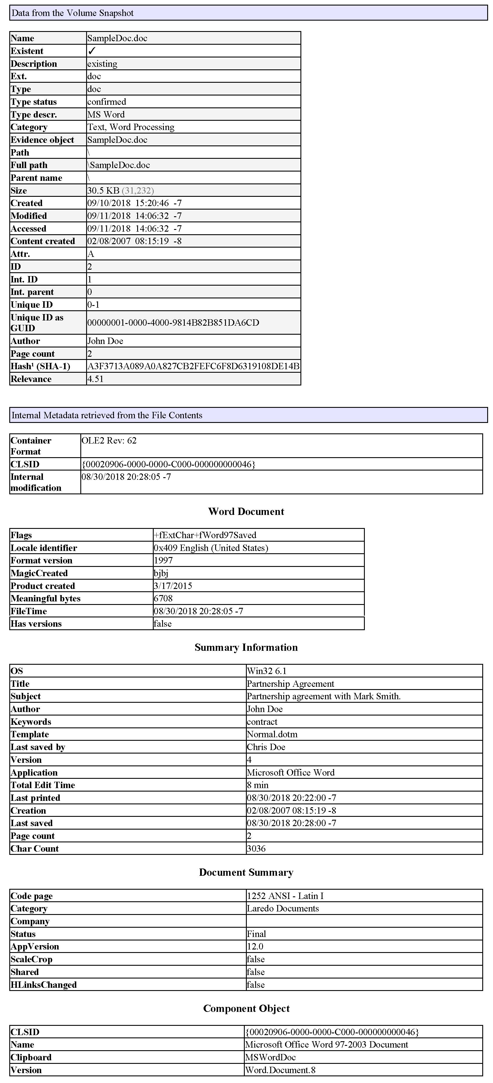 X-Ways Word Metadata