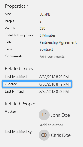 Word document internal metadata